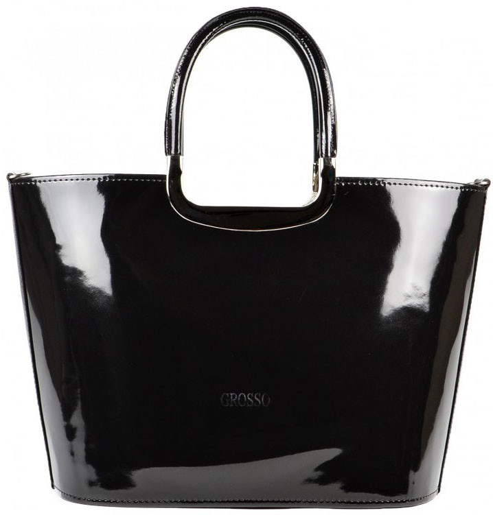 Luxusná kabelka čierna lakovaná S7 GROSSO